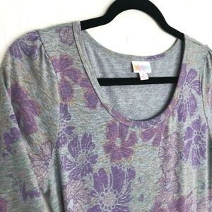 Lularoe Nicole Dress Gray Purple Floral Heathered